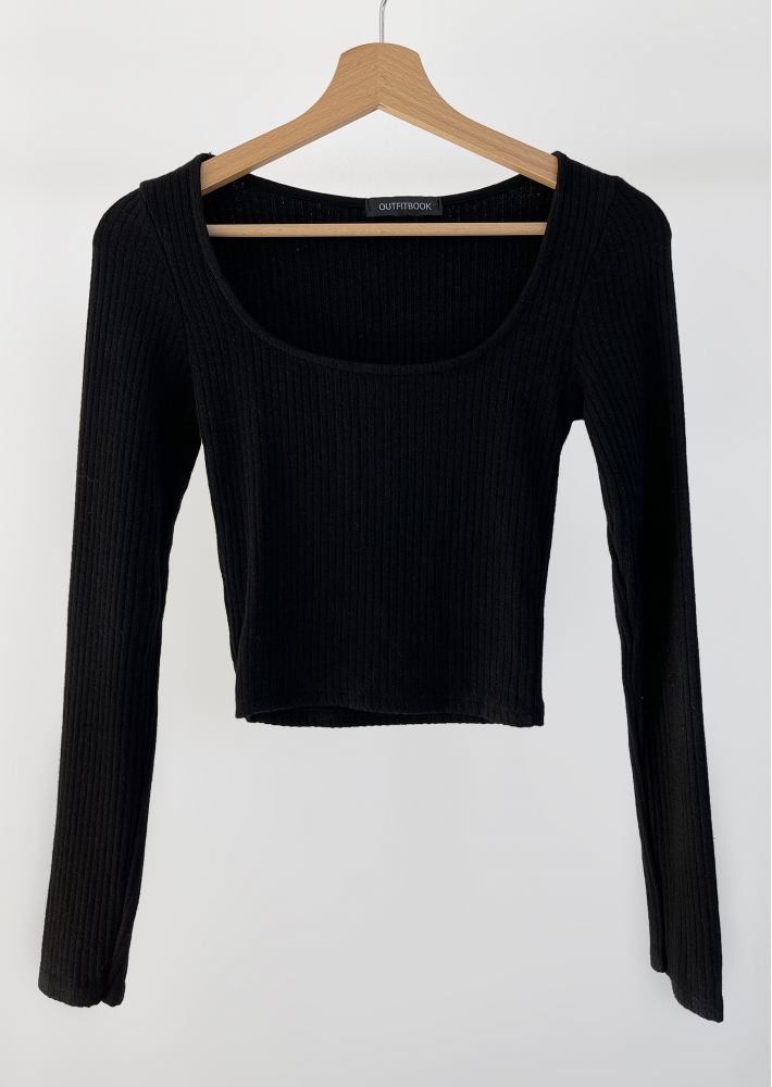 Ribbed top with square neck in black