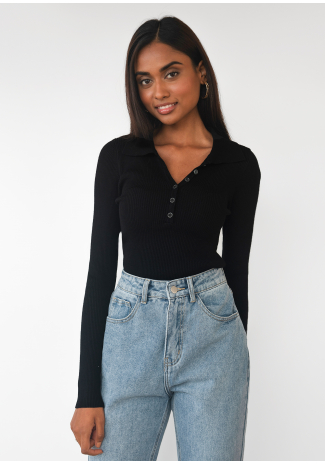 Knitted button up top with collar in black
