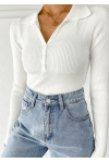 Knitted button up top with collar in white