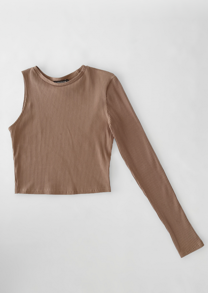 One shoulder long sleeve top in taupe
