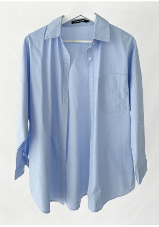 Camisa oversize azul de algodón