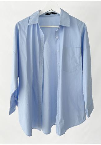 Oversized cotton shirt in blue
