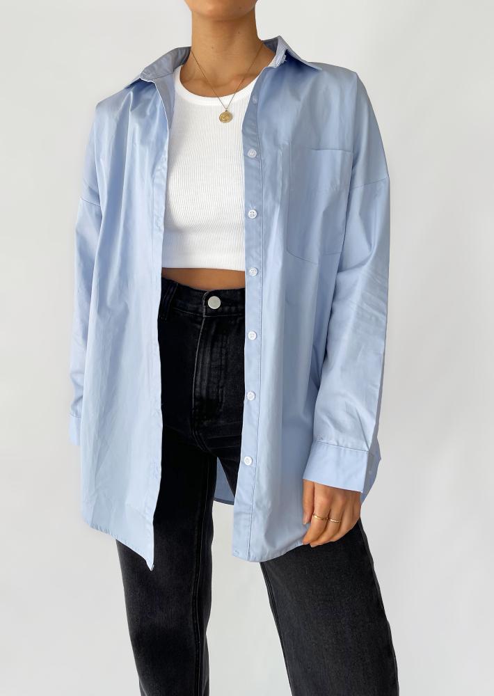 Chemise en coton oversize - bleu