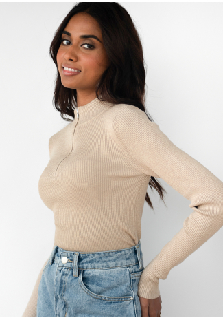 Ribbed half zip jumper in beige