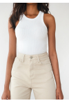 Knitted rib vest in white