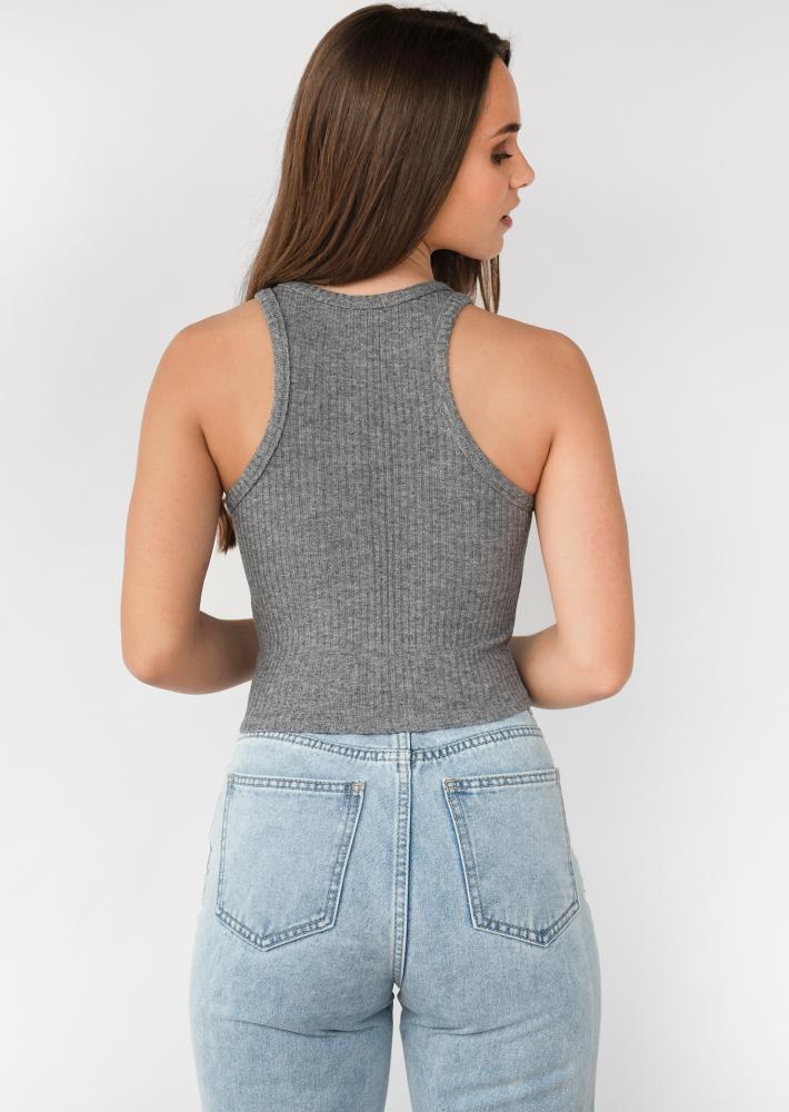 Knitted rib vest in grey