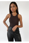 Knitted rib vest in brown