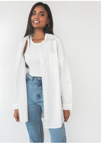 Chemise en coton oversize - blanc