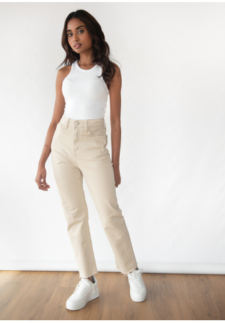 Mom fit jeans in beige