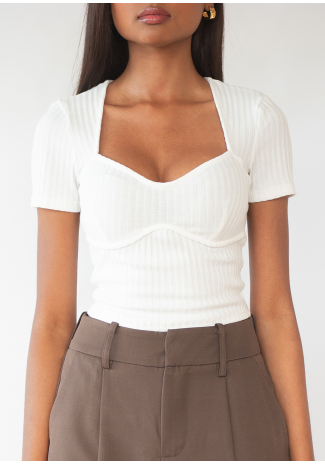 Top with sweetheart neckline in white