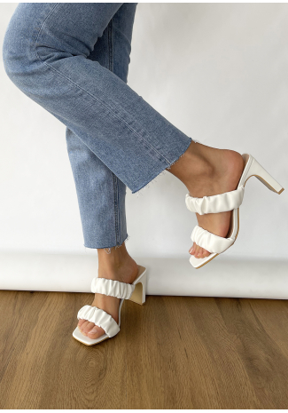 Square toe ruched heeled mules in white