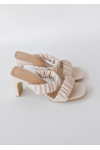 Square toe ruched heeled mules in beige