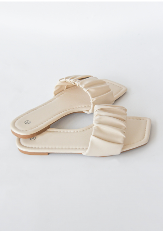 Square toe ruched  flat sandals in beige