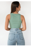 Ribbed crop vest in green
