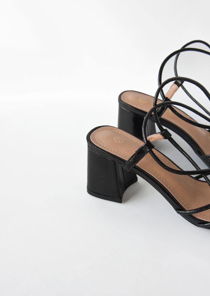 Tie leg mid heeled sandals in black