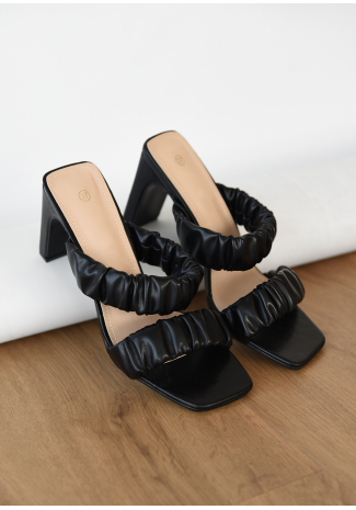 Square toe ruched heeled mules in black