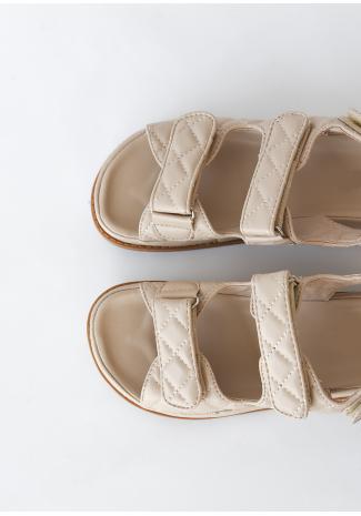 Sandalias planas acolchadas con suela gruesa en beis