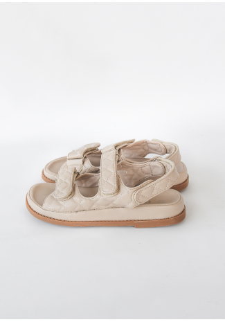 Chunky grandad sandals in beige quilt