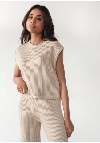 Ribbed knit top in taupe