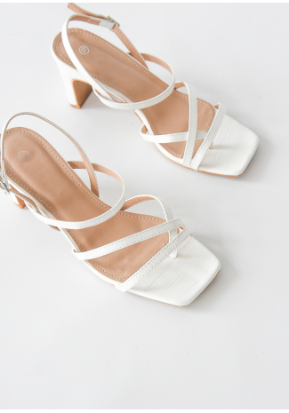 Square toe heeled sandals in white croc