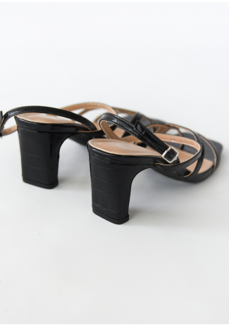 Square toe heeled sandals in black croc