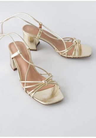 Sandales à talon mi-haut et liens à nouer doré