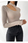 Ribbed knit  cutout detail jumper in beige