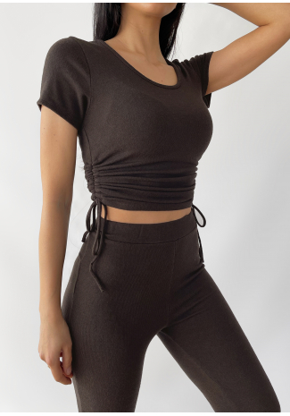 Ruched side t-shirt in brown