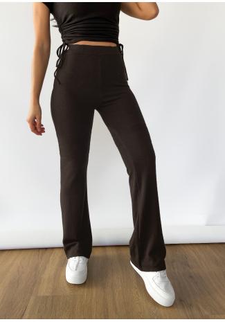 Pantalon évasé marron