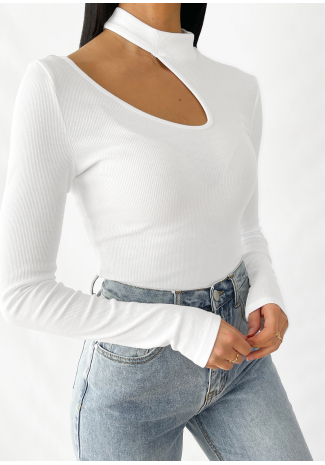 Jersey blanco con detalle de abertura de punto