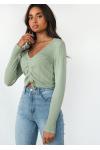 Rib knit ruched crop jumper in green