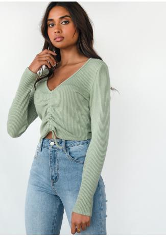 Jersey de punto corto con diseño fruncido en verde