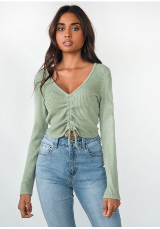Rib knit ruched crop jumper in green