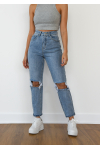Straight leg jeans with ripped knees