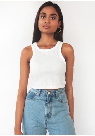 Camiseta corta sin mangas de canalé en blanco