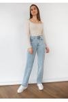 Jeans de pernera recta en azul claro con bajo sin rematar