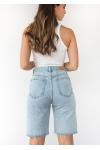 Longline denim shorts in light blue