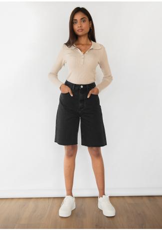 Longline denim shorts in black