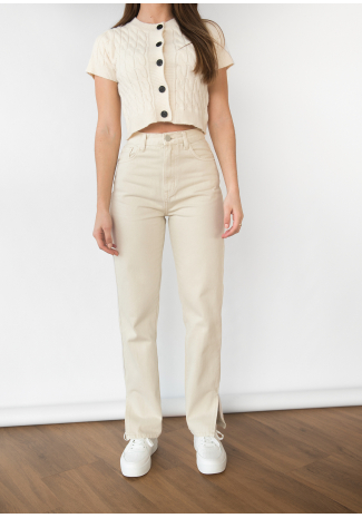 Beige Straight Leg Split Detail Jeans