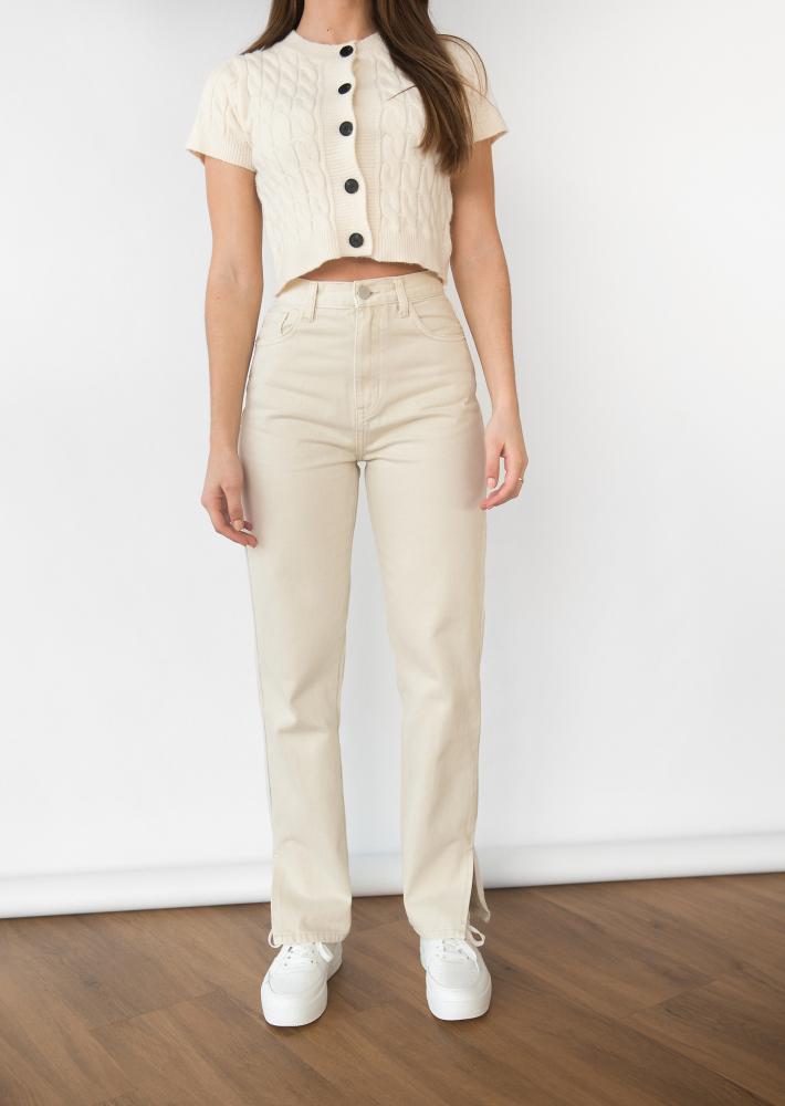 Beige Straight Leg Split Detail Jeans