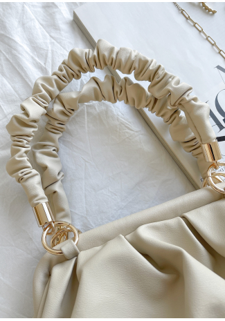 Ruched shoulder bag in beige