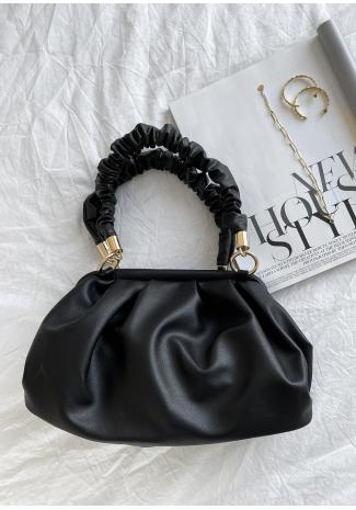 Bolso de mano negro con asa fruncida