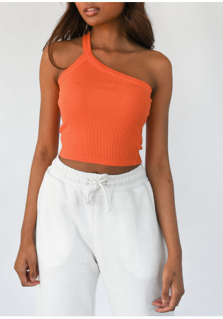 Crop top asymétrique côtelé orange