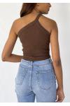 One shoulder crop rib top in brown