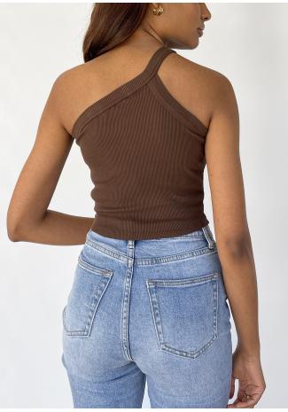 Crop top asymétrique côtelé marron