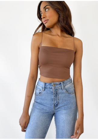 Crop top à fines bretelles marron