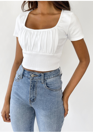 T-shirt froncé blanc