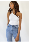 One shoulder crop rib top in white