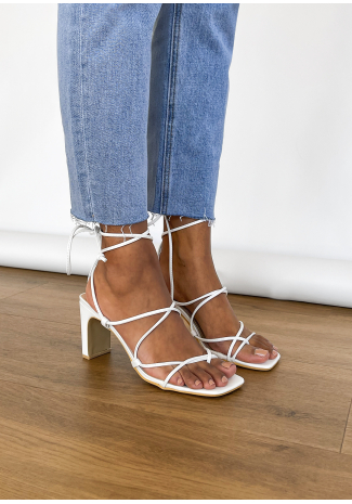 Heeled sandals with ankle tie in white