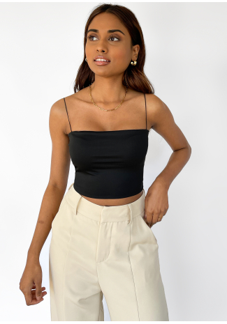 Thin straps crop top in black